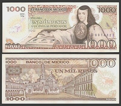 Mexico 1000 PESOS 1985 YN Signature 7 P 85 UNC OFFER !