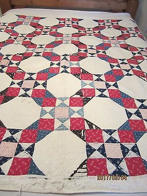 "ANTIQUE ""SNOWBALL"" QUILT, 66 x 70, HAND DONE, CIVIL WAR 1860s, AS IS CUTTER"