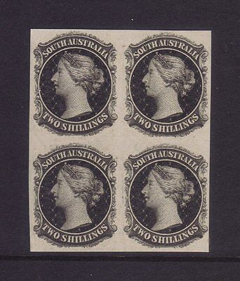 SA 2/- Imperforate Plate Proof Marginal block of 4 in black on thin card *RARE*