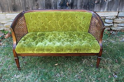 Vintage Fully Tufted Caned Bench Loveseat Settee, Mid Century