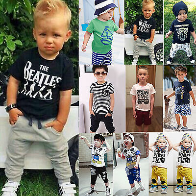 Toddler Kids Baby Boys T-shirt Tops Harem Pants Shorts Summer Outfit Clothes Set