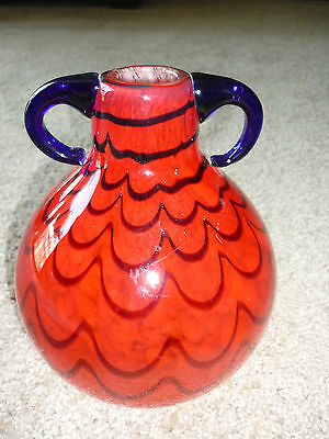 Gorgeous Hand Blown Art Glass Vase/Jug/Purple & Red/Applied Handles