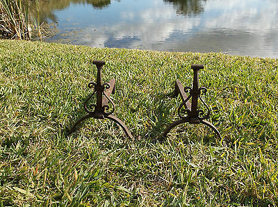 Pair Of Antique Scroll Motif Cast Iron Andirons/great Patina!