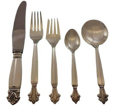 Acanthus by Georg Jensen Sterling Silver Flatware Set 8 Service 46 Pcs Dinner