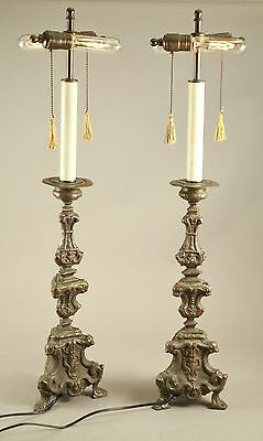 """Early Antique 18thC Thin Pressed Brass Bronze 32.5"""" Tall Lamp Candlesticks"""