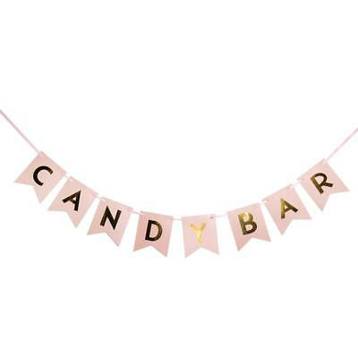 Vintage Candy Bar Banner Wedding Party Sweet Hanging Sign Pink and Gold
