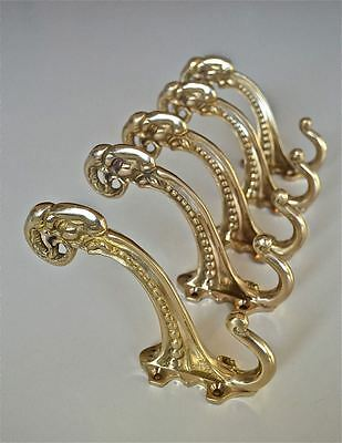 Set of 5 large Edwardian brass ram head coathook wall door hanger coat hook AL77