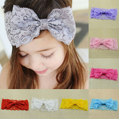 Cute Baby Girl Kids Toddler Hair Band Headband Headwear Pop Elastic Lace Bowknot