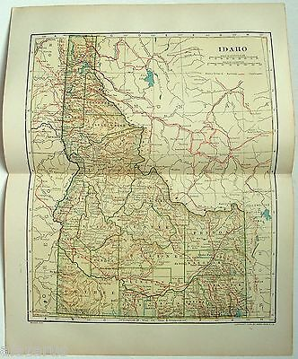 Original 1912 Dated Map of Idaho by L. L. Poates
