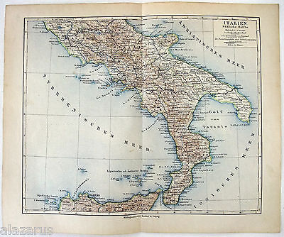 Original 1900 German Map of Southern Italy