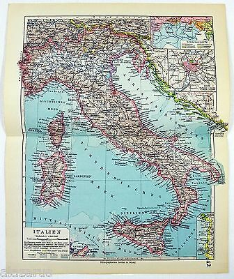 Original 1928 German Map of Italy
