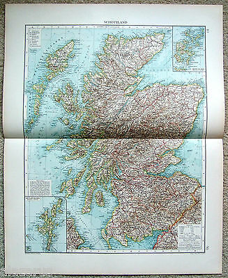 Large Original 1903 German Map of Scotland