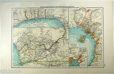 Original German 1903 West Africa Colonial Map by Velhagen & Klasing