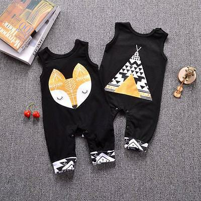 Newborn Infant Baby Boy Girl Kids Cotton Fox Romper Jumpsuit Bodysuit Clothes