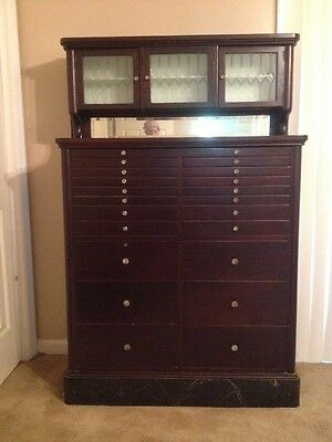 Antique 22 Drawer Dental Cabinet - Early 1900's Dentist Cupboard