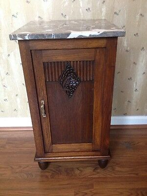 True Antique French Deco Marble Top Nightstand - Tall Oak Side Cabinet