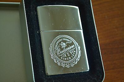 ZIPPO Lighter, 250AB.620 Bud Bottle Cap, Hi-Polish Chrome, 2002, Sealed, M1157