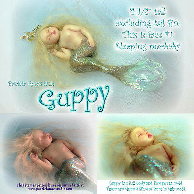 """4 1/2"""" GUPPY BABY mermaid PRESS MOLD FOR POLYMER CLAY ONLY by Patricia Rose"""