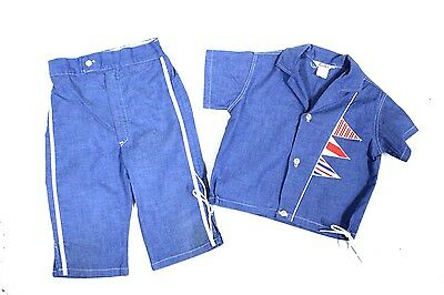 Vintage Boys Summer Suit Ship Flags Appliqué Denim GoodLad SZ 6 1950s