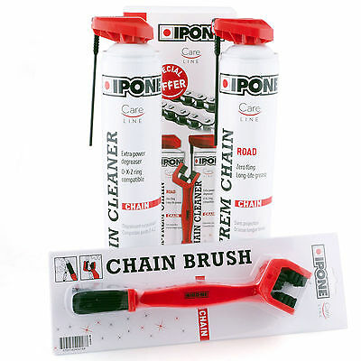Ipone Chain Care Cleaning Cleaner Lube Kit Motorbike Motorcycle Bike 2 x 750ml