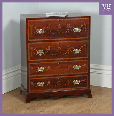 Antique Regency Style Edwardian Inlaid Mahogany Secretaire Chest of Drawers