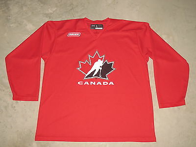 Adult Vintage Canada IIHF Hockey Team Practice Jersey Large Bauer Red