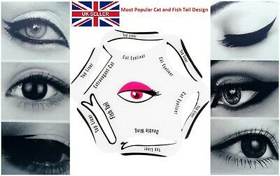 Hot  6 in 1 EYELINER Stencil Set Makeup Guide Quick Cat Eye Liner Tool  UKSeller