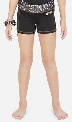 NWT JUSTICE Girls 6 Black and Gold GYMNAST Compression Shorts