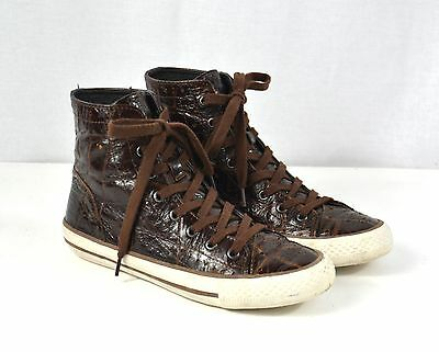 Croco Ash Sneakers Basket Style Montantes Vernis Cuir Marron Boots WHYDE9I2
