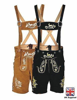 Mens Bavarian LEDERHOSEN Trachten Real Leather / With Matching Suspenders Shorts