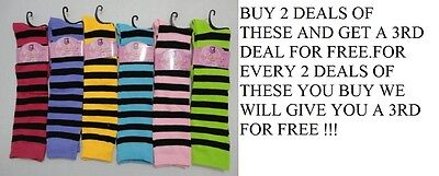 "12 Pair Of Brand New Ladies /girls 12"" Knee High Striped Socks,  Free Shipping"