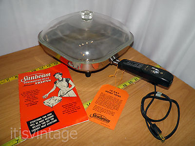 """Vintage Sunbeam 1A Electric Frypan 10"""" Glass Lid Skillet Recipe Manual Hang Tag"""