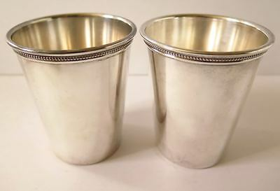 W M Rogers Silver- Plate / Mint Julip Cups With Detailed Edge Set Of Two