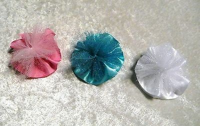 3 x Cute Baby Girls Satin Tulle Peony Flower Hair Clip Hairpin for Kids Toddler