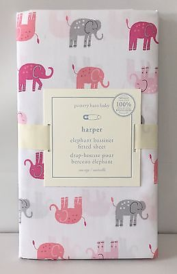 POTTERY BARN KIDS Harper Elephant Fitted Sheet Nursery Baby, PINK, NEW