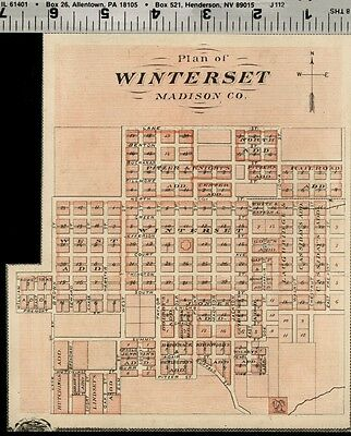 Winterset Iowa Street Map / Plan (Madison County); Authentic 1875 Item