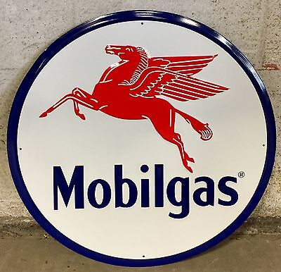 "MOBILGAS Gasoline Vintage 24"" Circular Embossed Tin Metal Sign"