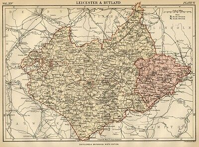 Leicester & Rutland County England: Detailed 1889 Map showing Towns, Cities; RRs