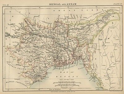 Bengal & Assam District INDIA: Authentic 1889 Map showing Cities; Topography