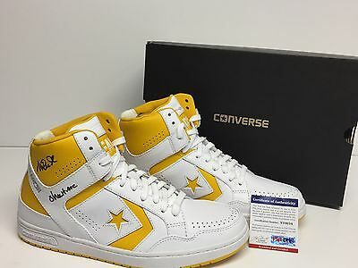 """Magic Johnson Signed White/Yellow Converse Weapons Shoes """"Showtime"""" PSA"""