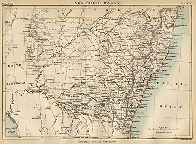 New South Wales; Australia: Authentic 1889 Map showing Towns; Topography +