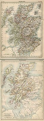 Scotland: TWO Authentic 1889 Maps showing Modern Topography w/Cities; 16th Cent.