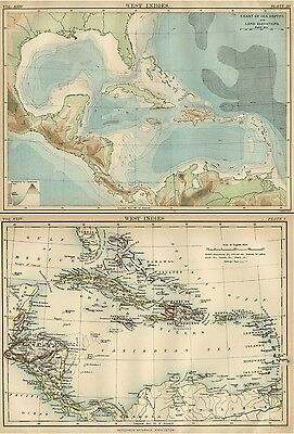 West Indies India Islands: TWO Authentic 1889 Maps showing Topography & Currents