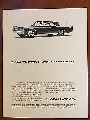 Vintage 1960 Original Print Ad LINCOLN CONTINENTAL Can't Be Outdated by Calendar