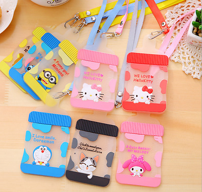 ID Silicone train bus Card Pass Holder with String Cartoon Kids Fun Novelty Cat