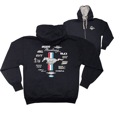 Apparel Hoodie Zip-Up Black Ford Mustang Emblems Medium