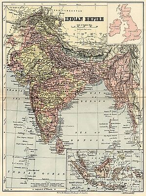Indian Empire Map: Authentic 1895; Inc. Malaysia: Topography, Towns, RRs, ++