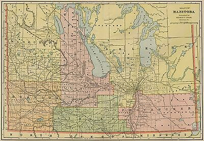 Manitoba Canada Map: Authentic 1899; with Cities; Towns; RRs, Topography