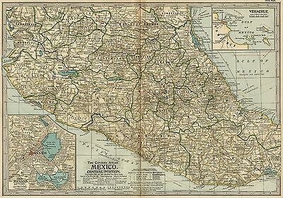 MEXICO CITY Vicinity Map: Authentic 1897 (Dated) Towns; Cities, Topography, RRs