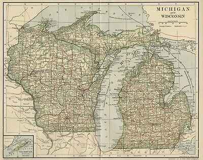 MICHIGAN & WISCONSIN Map: Dated 1891 w/ Towns, Counties, RRs & 1890 Populations